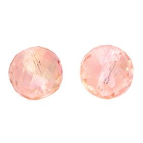 CrystaLove™ crystals / glass / faceted round / 8x10mm / salmon / transparent / iridescent / 6pcs