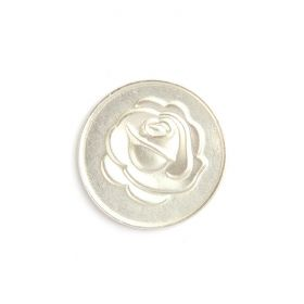 Small Matte Silver Rose/Love Coin Disk for Interchangeable Locket 24mm Pk1