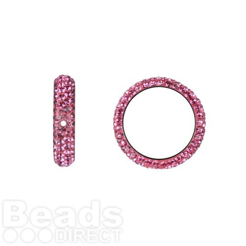 85001 Swarovski Crystal Pave 2 Hole Thread Ring 14.5mm Rose Pk1