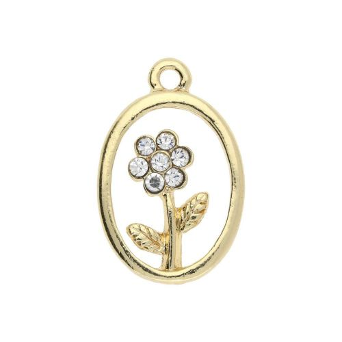 Glamm ™ Flower / charm pendant / with zircons / 24x16x3mm / gold plated / 1pcs