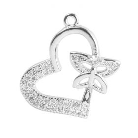 Silver Plated Heart Butterfly Charm  Zircon Crystals 17mm Pk1