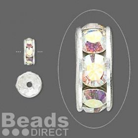 77508 Swarovski Silver Plated Rondelle 8mm Crystal AB Pk6