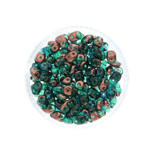 SuperDuo™ / glass beads / 2.5x5mm / Luster Bronze / Emerald / 10g / ~140pcs