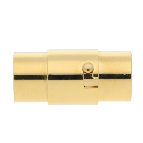 Magnetic clasp / surgical steel / round / 17x7x7mm / gold / hole 5mm / 1pcs