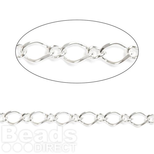 Silver Plated Figaro Chain 6x4mm/2x1.5mm 1metre