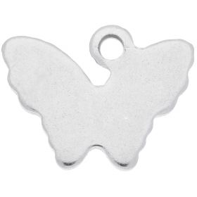 Butterfly / pendant / surgical steel / 8.5x11x1mm / silver / 4pcs