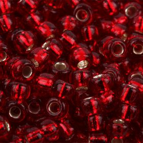 Miyuki Size 8 Round Seed Beads Silver Lined Ruby 22g Tube