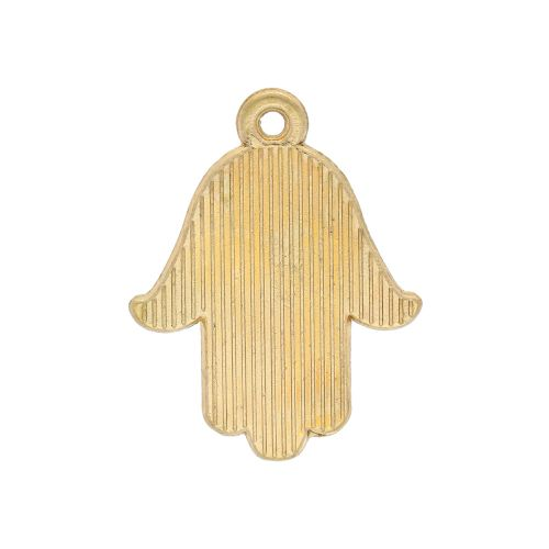 SweetCharm™ fatima hand / hamsa / charm pendant / 23x18x1.5mm / gold plated / black / 2pcs