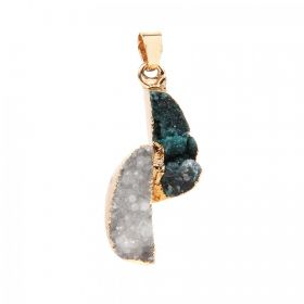 Green and White Gold Plated Druzy Agate Pendant with Bail 16x33mm Pk1