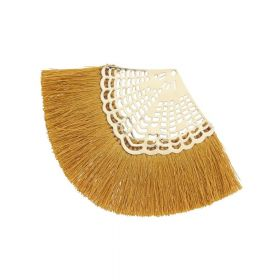 Fan tassel / viscose thread / openwork base / 65mm / honey / 1pcs