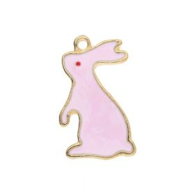 SweetCharm ™ Rabbit / charm pendant / 22x13x1.5mm / gold plated / pink / 2pcs
