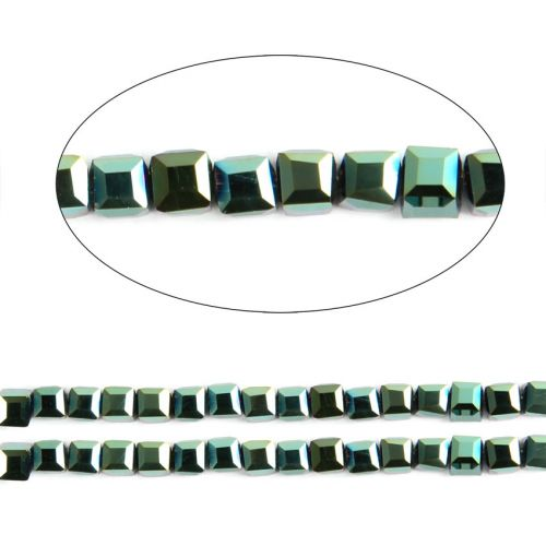 """X"" Green Full Coat Essential Crystal Glass Faceted Cube Beads 3mm 13"" Strand"