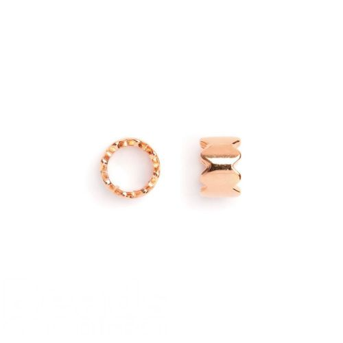 X-Rose Gold Plated Zigzag Round Bead 8x7mm Pk2