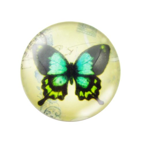 Glass cabochon with graphics 12mm PT1524 / green / 4pcs