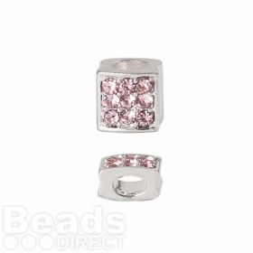 Premium Shamballa Fashion Pink Crystal Slider Bead 6x6mm PK1