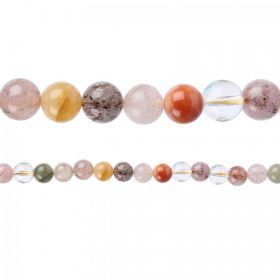"X-Multi-Colour Rutilated Quartz Round Beads 6mm 15""Strand"