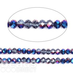 "Dark Blue 1/2 Coated Essential Crystal Glass Faceted Rondelle Beads 8mm 16""Strand"