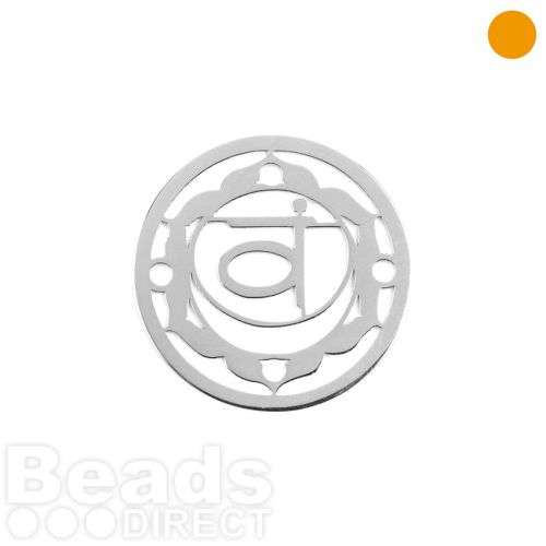 Sterling Silver 925 'Water' Small Chakra Connector 15mm Pk1