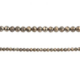 "Pyrite Semi Precious Faceted Round Beads 3mm 15"" Strand"