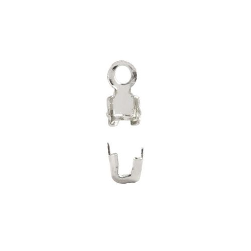 X-Silver Plated Brass Cupchain Ends for 2mm Cupchain Pk20