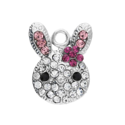 Glamm ™Rabbit / charm pendant / with zircons / 19x15x4.5mm / silver plated / clear-pink / 1pcs