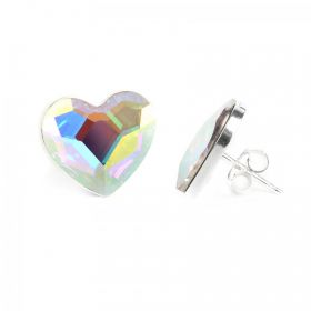 Ready To Wear Sterling Silver 925 Crystal AB Heart Earrings w/Swarovski Crystal