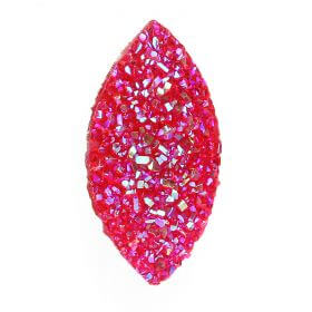 Fuchsia AB Sparkly Resin Marquise Flat Back Cabochon 13x26mm Pk10