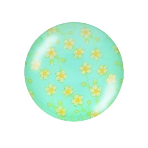 Glass cabochon with graphics K14 PT1456 / green / 14mm / 4pcs
