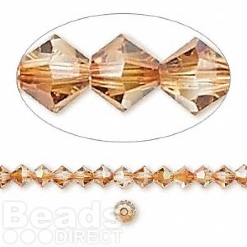 5328 Swarovski Crystal Bicones Xillion 4mm Copper Pk24
