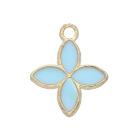 SweetCharm ™ Flower / pendant charms / 18x15x2mm / gold plated / blue / 2 pcs