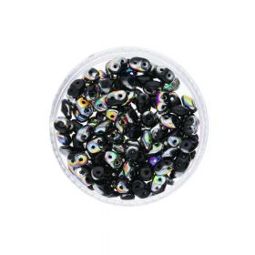SuperDuo™ / glass beads / 2.5x5mm / Vitral / Jet / 10g / ~140pcs