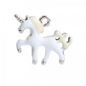 White & Yellow Enamel Silver Tone 3D Unicorn Charm 16x20mm Pk1