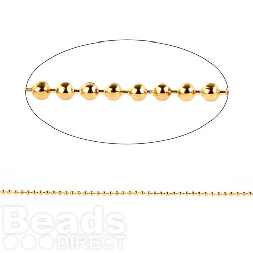 Gold Plated Brass 2mm Ball Chain 1 Metre length with 2 Clasps