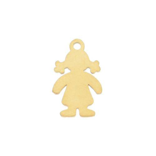 Girl / charm / surgical steel / 15x10x1mm / gold / 1pcs