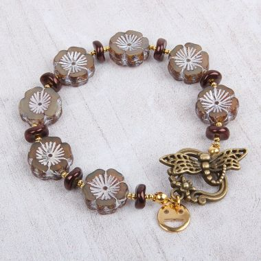 Chocolate Cosmos Flower Bracelet