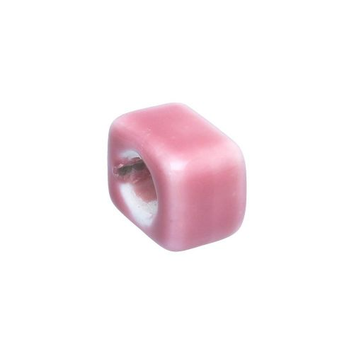 Ceramic beads with a defect / cube / 20x17x12mm / pink / hole 9x7mm / 2pcs