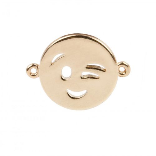 Gold Plated Emoticon Connector Charm Winking Face 12mm Pk1