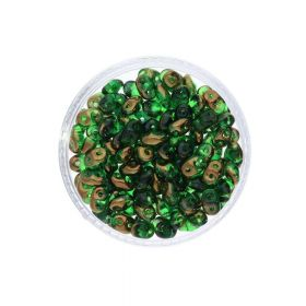 SuperDuo™ / glass beads / 2.5x5mm / Luster Bronze / Chrysolite / 10g / ~140pcs