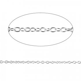 Silver Plated Trace Chain 2.5x3.5mm Pre Cut 1 Metre Length
