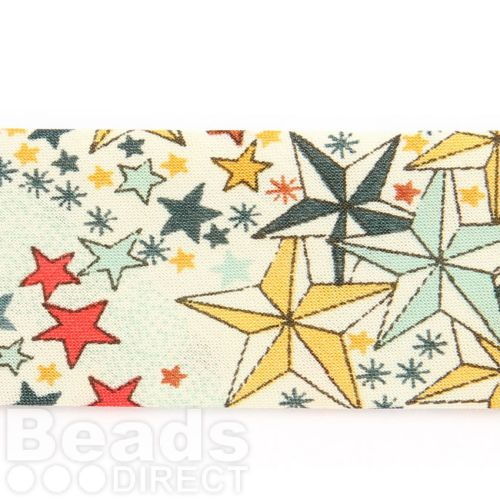 X Liberty of London Ribbon Flat Cream Star Mix 20mm 1m