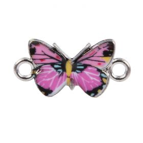 Pink Enamel Silver Plated Butterfly Connector Charm  15x18mm Pk1