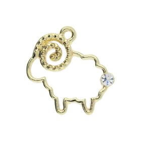 Glamm ™ Love / charm pendant / with zircons / 20x20x2.5mm / gold plated / 1pcs