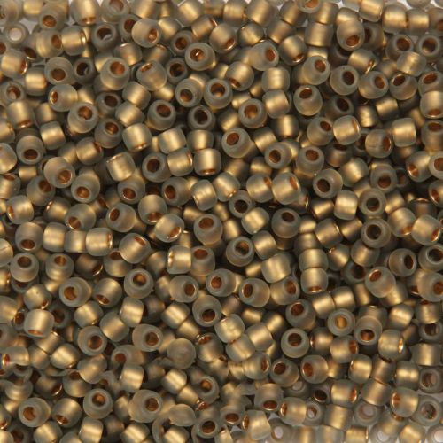 X- Toho Size 6 Round Seed Beads Frosted Gold Lined Black Diamond 10g