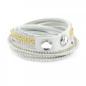 Swarovski Twist Bracelet with Popper Light Grey-Yellow Mix 40cm Pk1 Retail 59.99