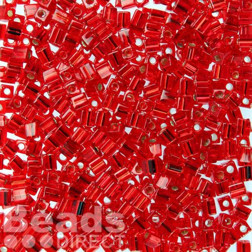 Miyuki Cube Beads 4mm Silver-Lined Red 10g