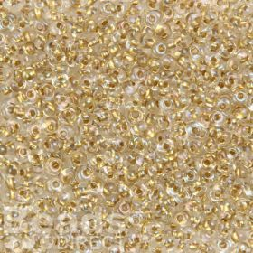 Toho Seed Beads 3mm Magatama Crystal/Gold Lined 10g