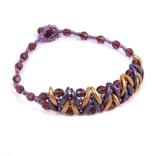 Gold and Purple Crescent Beads Take a Make Break Bracelet Kit - Makes x1