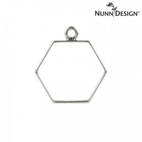 Nunn Design Antique Silver Charm Hollow Hexagon 25x29mm Pk1