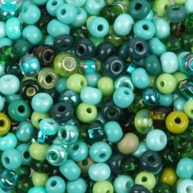 Preciosa Round Seed Bead Mix Size 6 Green 50g