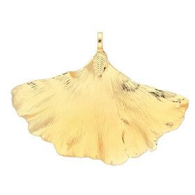 Ginkgo leaf / copper / pendant / 45x64x4mm / gold / 1pcs